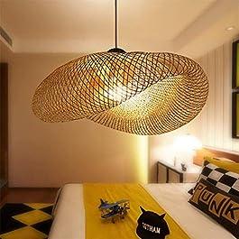 Suspension E27 Lustre Lumière Pendentif Vintage Rétro Lampe Pendentif Industriel Bambou Rotin Naturel Suspendu Tissé…