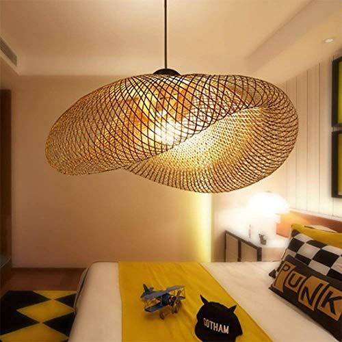 E27 Pendelleuchte Kronleuchter Licht Vintage Retro Pendelleuchte Industrie Bambus Natural Rattan Gewebte Hängelampen Pendelleuchte Höhenverstellbar Esszimmer Büro Wohnzimmer Cafe Raumlampe, 80cm