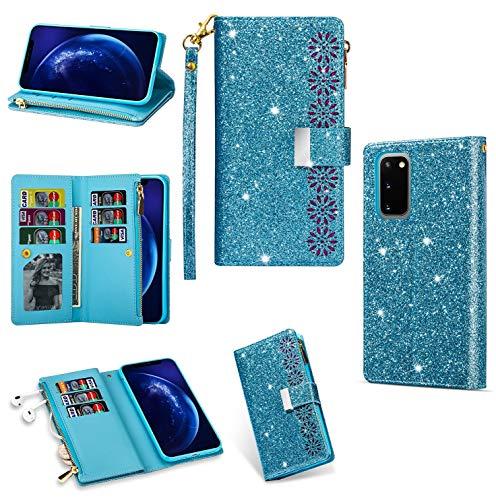 Funda para Galaxy A52 con cremallera para Samsung A52 5G Bumper Cover Soft TPU Wallet Bling Phone Case para mujeres y niñas (azul)