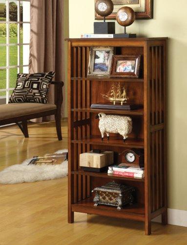 Furniture of America Liverpool Mission Style 5-Shelf Bookcase, Antique Oak Finish