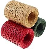 Yeelua Cinta de rafia 3 rollos, 300 m, papel natural de rafia mate para el día de la madre, regalo de Navidad, cumpleaños, suministros de manualidades, etiquetas para colgar, decoración (984 pies)