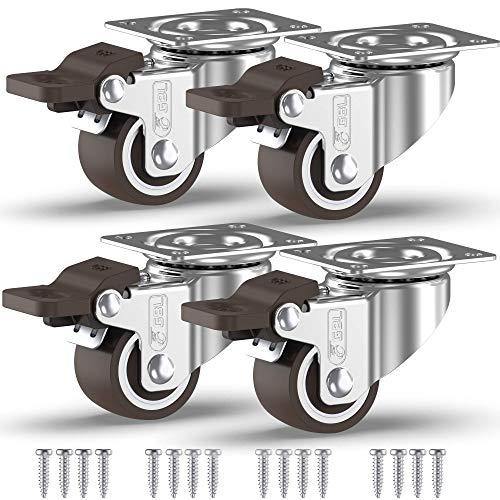 GBL - 4 Möbelrollen 25mm/50mm Transportroller Lenkrollen mit Bremse Schwerlastrollen Rollen für Möbel … (25mm - 4 mit Bremsen)