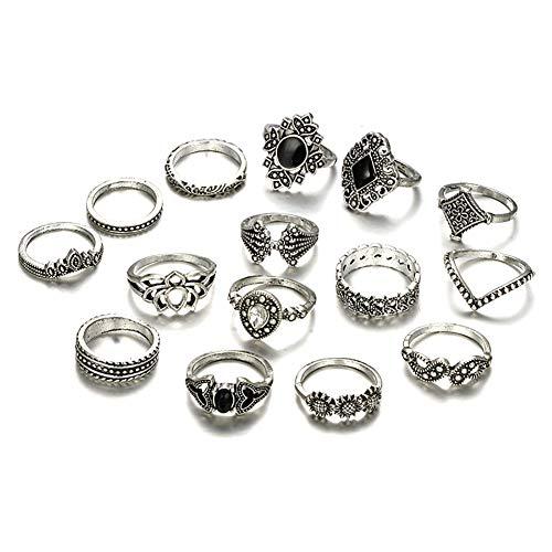 qinlee conjunto 7pcs–Juego de anillas de Palacio Fantasía joyas Bohemia para mujer y niña (plata)