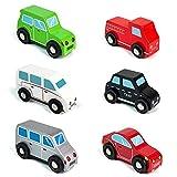 jerrryvon Holzauto Steckspiel Holz Auto Kinder Holzspielzeug Fahrzeuge Car pädagogisches Spielzeug Geschenke für Kinder ab 2 3 4 5 Jahre, 6 Teile