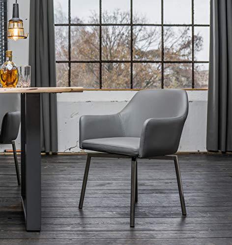 KAWOLA Stuhl Loui Sessel Esszimmerstuhl Kunstleder schwarz, weiß, grau hellgrau (grau)