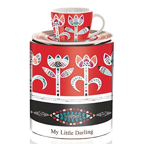 Ritzenhoff My Little Darling Espressotasse mit Untertasse, Porzellan, Mehrfarbig, 9 x 9 x 10 cm