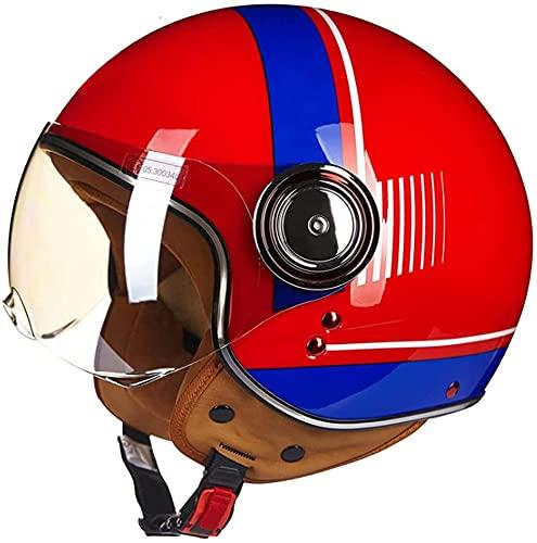 Medio Casco de Motocicleta para Adultos, Aprobado por Dot/ECE 3/4 Cascos de Motocicleta Estilo Retro, Cara Abierta, Chopper, Scooter, Crucero, Casco (Color : E, Size : X-Large)