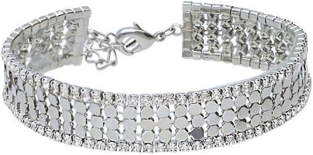 Stroili ,bracciale per donna, multifilo largo, in metallo rodiato con strass 1666137