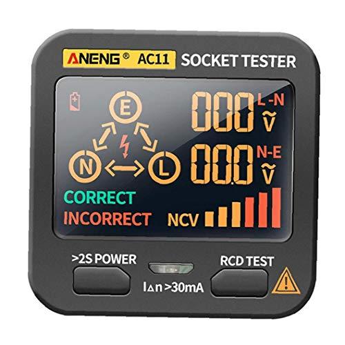 Socket probador de Red del Enchufe, Detector de Red multifunción Toma de tensión para ANENG AC11 Negro-Enchufe de la UE