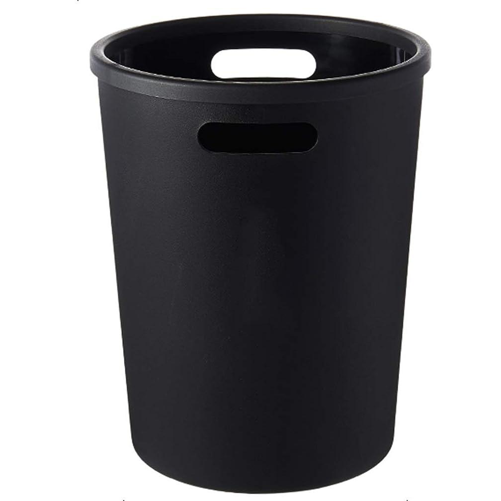 ギャラントリー描く辞任するゴミ箱プラスチックゴミ箱、肥厚バレル壁マットテクスチャ圧力リングデザイン、キッチンリビングルームのバスルーム ズトイビー (Color : Black)