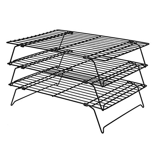 Taicanon Estante de enfriamiento de tres capas plegable rack de enfriamiento rack de tortas de secado de red de tortas rack de tortas herramientas de hornear multifuncional optimización comercial