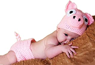2019 Newborn Baby Photography Props Crochet Costume Hat and Pants Outfits Toddler Photoshoot Sets Pink Pig