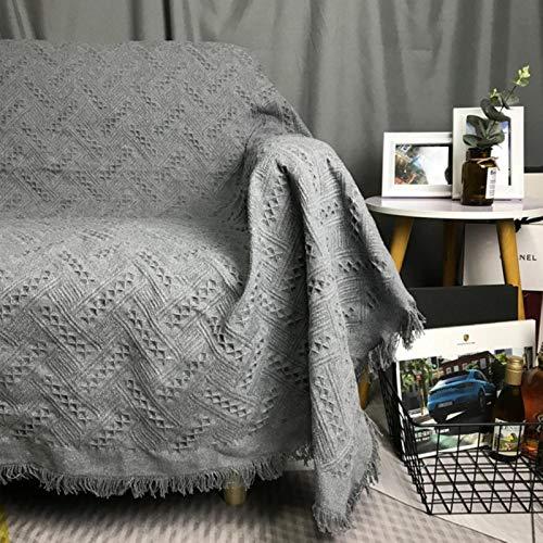 WCNMD Color sólido Hilo de algodón Borla de Punto sofá Manta Cubierta de Tela Antideslizante Tapiz Colcha decoración de Textiles para el hogar, Cuadros Grises, 180x340cm