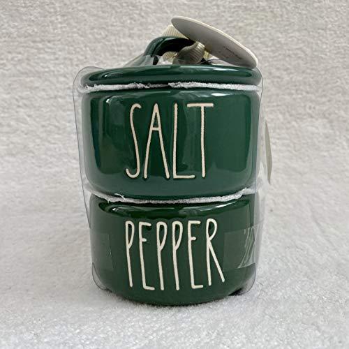Rae Dunn By Magenta 2 Piece SALT & PEPPER Stacking Green Ceramic LL Salt & Pepper Cellars Set