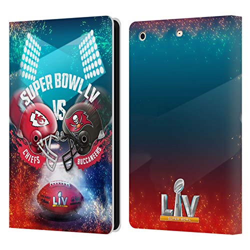 Official NFL Kansas City Chiefs vs Tampa Bay Buccaneers 2021 Super Bowl LV Versus Leather Book Wallet Case Cover Compatible For Apple iPad mini 1 / mini 2 / mini 3