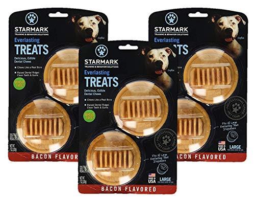 (3 Pack) Star Mark Everlasting Bacon Dog Dental Chews, Large