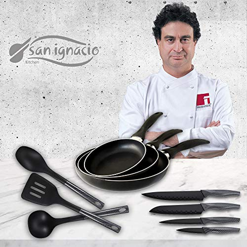 San Ignacio Navy Black Set de 3 sartenes + 4 Cuchillos 3 Utensilios de Cocina, Pack Kitchen Pro
