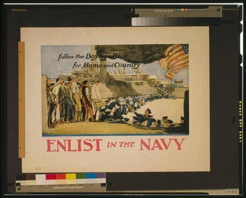 Foto: Enlistarse en la Marina, Niños en Azul, Foto del cartel de reclutamiento de la Marina de los Estados Unidos, 1914-1918