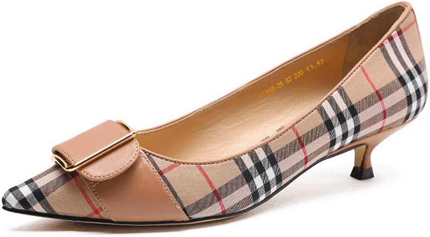 Leather high Heel Women's shoes, Formal Women's shoes Pointed Plaid shoes