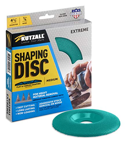 Kutzall Extreme Shaping Disc - Medium, 4-1⁄2' (114.3mm) Diameter X 7⁄8' (22.2mm) Bore - Coping Woodworking Angle Grinder Attachment for DeWalt, Bosch, Makita. Abrasive Tungsten Carbide, SD412X70