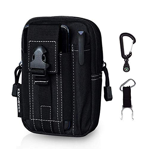 Outdoor Tactical Holster Military Molle Hip Waist Belt Bag Wallet Pouch Purse Phone Case for Compact 9mm 380 Subcompact Pistols Guns Concealed Carry Waist Pack/Holster (Black)
