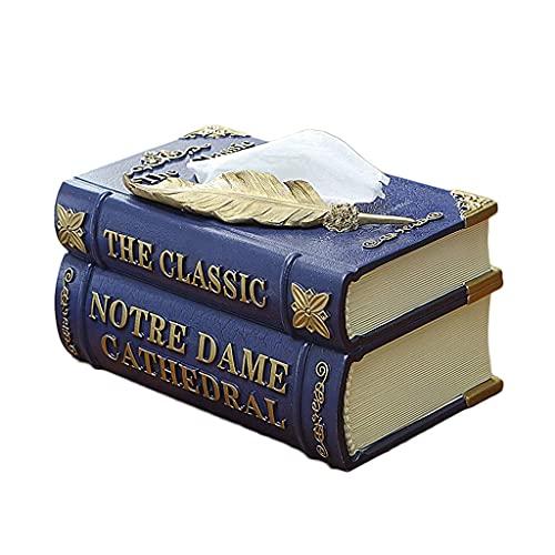 YLB Libros de la Vendimia Caja de pañuelos Resina Resin Soporte de Almacenamiento de Papel de Escritorio Dispensador de servilletas 8.5'* 5.3 *' 4.3'(Color: Azul, Tamaño: 21.5 * 13.5 * 10.8cm)