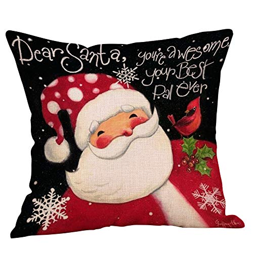 Preisvergleich Produktbild WFRAU Santa Claus Drucken 45x45 cm Baumwolle Leinen Weihnachten Quadrat Wurf Kissenbezug, 1 / 4 / 9 Stück Weihnachtsdekoration für Sofa Schlafzimmer Auto Wein Rot Kissenbezüge