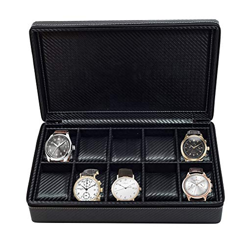 10 Watch Briefcase Black Carbon Fiber Zippered Travel Storage Case 50MM Father's Day