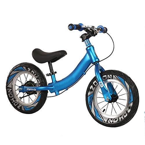 JLXJ Bicicleta Sin Pedales Equilibrio Niño Azul Bicicleta de Equilibrio con Freno de Mano Delantero, Neumáticos de 12 Pulgadas, Niños Pequeños Sin Pedal Bicicleta para Caminar, Carga: 50kg