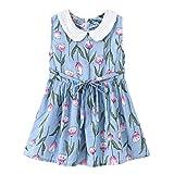Moneycom2-7Y Toddler bébé Enfants Filles col Floral Robe de Princesse vêtements décontractés, Collier de poupée Florale Princesse Robe Robe de Style de Vacances Bleu Clair(5-6 Ans)