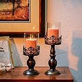 NUPTIO Set mit 2 Kerzenhaltern für Stumpenkerzen mit Glasabdeckung, Antiker Metall-Hurricane-Kerzenhalter Perfekt für Die Dekoration des Kamin-Esstisches Im Mittelpunkt, Halloween Weihnachten Deko - 4