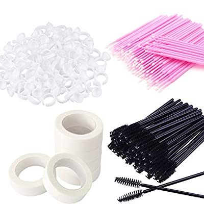 100Pcs Eyelash Mascara Brushes Wands Applicator Makeup Brush,100Pcs Micro Applicators Brushes,100 Glue Holder Rings Cup,6 Rolls Eyelash Tapes