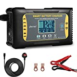 Haisito Car Battery Charger, 10Amp 12V/10A 24V/5A Automatic Car Battery Charger, LCD Display with 4 Charging Modes 7 Stages Charging Lithium Lead-Acid LiFePO4 Compatible Charger and Maintainer