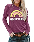 YEXIPO Womens Graphic Tees Good Vibes Shirt Short Sleeve Funny T Shirts Rainbow Print Cute Summer Tops (Small, Z-Wine Red)