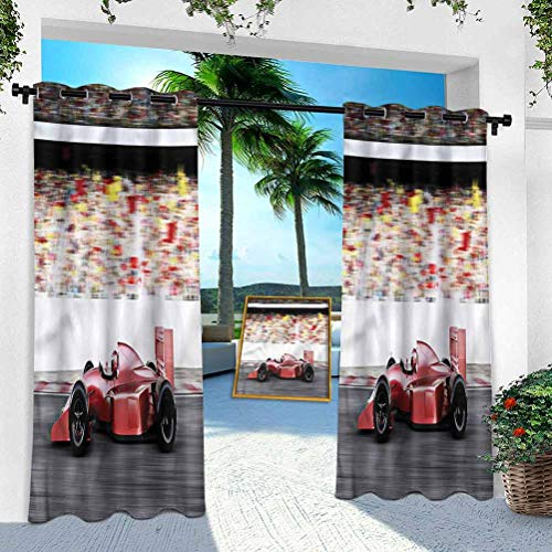 Aishare Store Indoor Outdoor Curtains, Cars,Red Race Car Side View, 52' x 95' Patio Light Block Wind Keep Out Curtain for Front Porch/Garden(1 Panel)