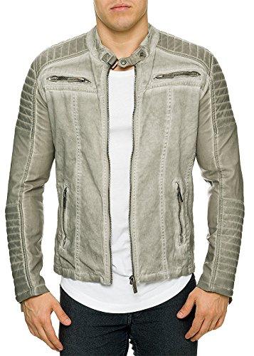 Red Bridge Herren Denim Biker Jacke Kunst- Lederjacke Jacket Übergangsjacke grau S