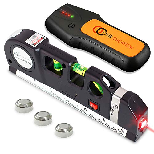 OFIRCREATION 3 in 1 Laser Level Cross Line Ruler And Measuring Tape Multipurpose Picture Hanging Woodworking Contractor Tool Imperial amp Metric Measurements Vertical Horizontal With Stud Finder