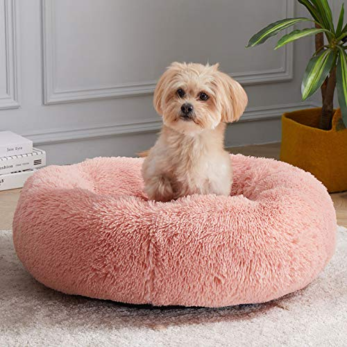 WAYIMPRESS Calming Dog Bed for Small Dog&Cat ,Comfy Self Warming Round Dog Bed with Fluffy Faux Fur for Anti Anxiety and Cozy (20 x 20 Inch, Pink)