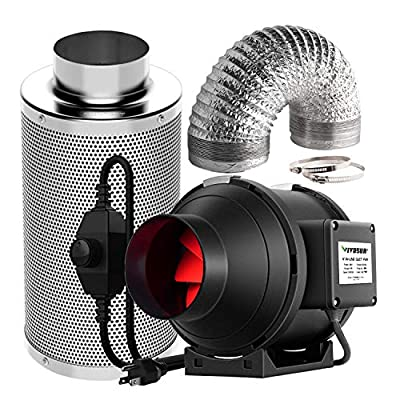 VIVOSUN Inline Fan with Speed Controller, Carbon Filter and Ducting for Grow Tent Ventilation