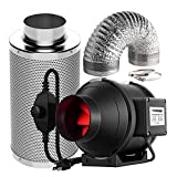 VIVOSUN 4 Inch 190 CFM Inline Fan with Speed Controller, 4 Inch Carbon Filter and 8 Feet of Ducting for Grow Tent Ventilation