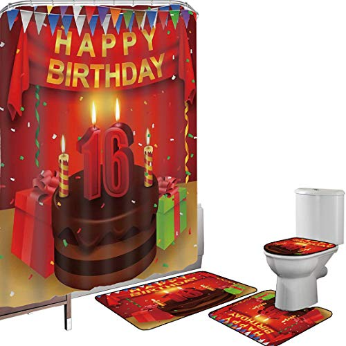 Shower Curtain Set Bathroom Accessories Carpet Set 16th Birthday Decorations Bath Mat Contour Rug Toilet Cover Party Celebration with Flag Ribbon Chocolate Cake Candles Print,Multicolor Non-Slip Water