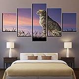 HD-Drucke Segeltuch Gemälde 3D Waldtier Poster Modular Bild 5 Stücke Gepard-Sonnenuntergang-Glühen Landschaft Gemälde Modernes Zuhause Wandkunst Dekor,A,20×35×2+20×45×2+20×55×1