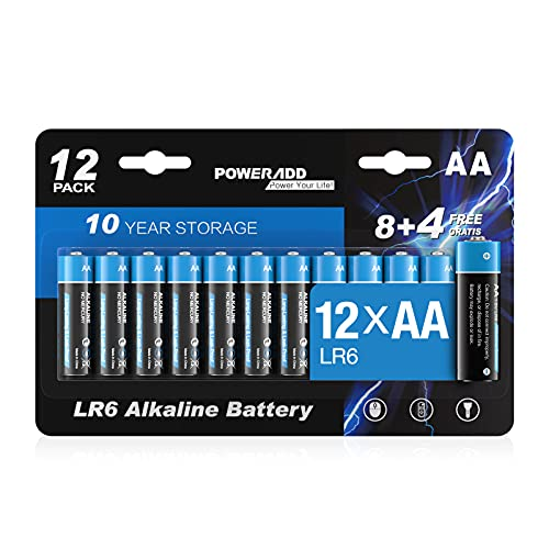 AA Batterien, AA Alkaline Batterien LR6 Mignon 12 Stück, LR6 AA Mignon Batterien 1,5 V Akku 10 Jahre Haltbarkeit für Fernbedienung Radio Wecker und Uhr