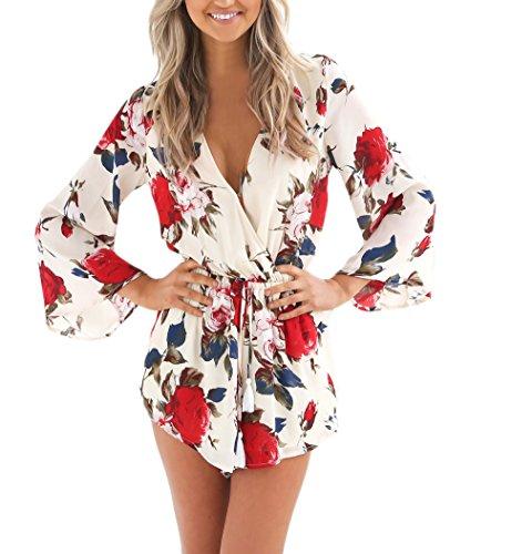Lannister Fashion Damen Jumpsuits Sommer Kurz Overalls Playsuits V-Ausschnitt Mit Blumenprint Kleider Langarm Elegant Lockere Overall Minikleider