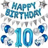 Ouceanwin 10 Cumpleaños Decoración Azul, Gigante Globos Numeros 10, Bandera de Globos Happy Birthday, Globos de Confeti, Banderín Plateado, 10 años Fiesta de Cumpleaños Kit para Niño Chico