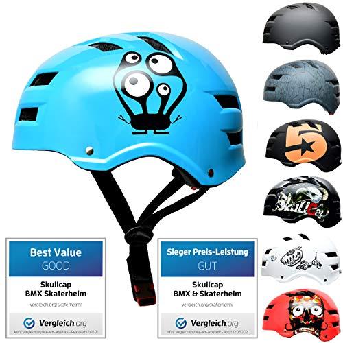 Skullcap® Skaterhelm Erwachsene hellblau Monster Blue - Fahrradhelm Damen Herren ab 14 Jahre Größe 55-58 cm - Scoot and Ride Helmet Adult Light Blue - Skater Helm für BMX Inliner Fahrrad Skateboard