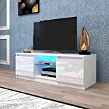 AUXSOUL Glossy LED Entertainment Stand for 55 Inch TV - Modern RGB LED TV Cabinet with 2 Large Drawers - Media Game Console Table - TV Stand(White)