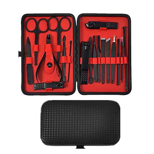 Queta 18PCS Kit Manicure, In Acciaio Inox Set Manicure Professionale, con custodia in pelle, Portatile Set Pedicure, per donne e uomini (Nero)