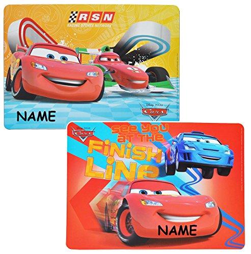 alles-meine.de GmbH 2 Stück: Unterlage - Disney Cars Auto Lightning McQueen incl. Name - 44 cm * 31 cm - für Kinder Jungen Autos Francesco / kleine Schreibunterlage - Tischunterl..