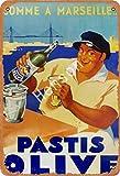 HONGXIN Cartel de metal vintage de vino de oliva Pastis para decoración de casa, bar, pub, garaje, banda, cerveza, huevos, café, supermercado, granja, jardín, dormitorio